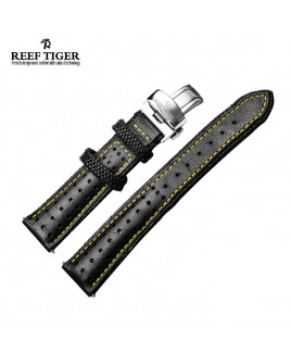 Reef Tiger Space Noddle Leather Strap - Yellow Line