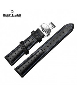 Reef Tiger Space Noddle Leather Strap - Blue Line