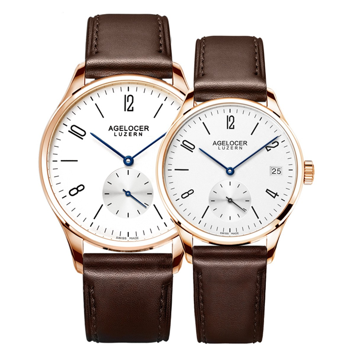 Agelocer Luzern Couple Watch 40/36mm Rose Gold 1101A1-1202A1GW