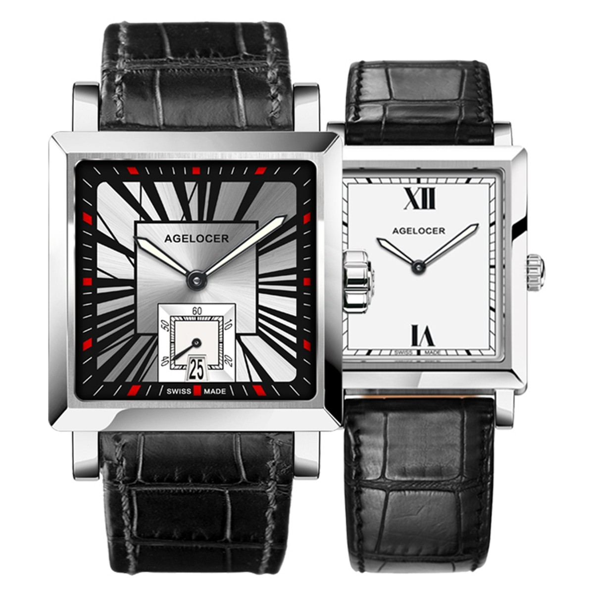 Agelocer Codex Couple Watch 35/30mm Steel 3302A1-3402A1SBW
