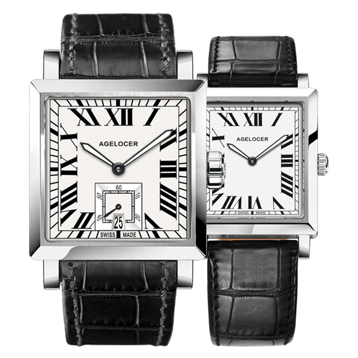 Agelocer Codex Couple Watch 35/30mm Steel 3302A1-3402A1SWW