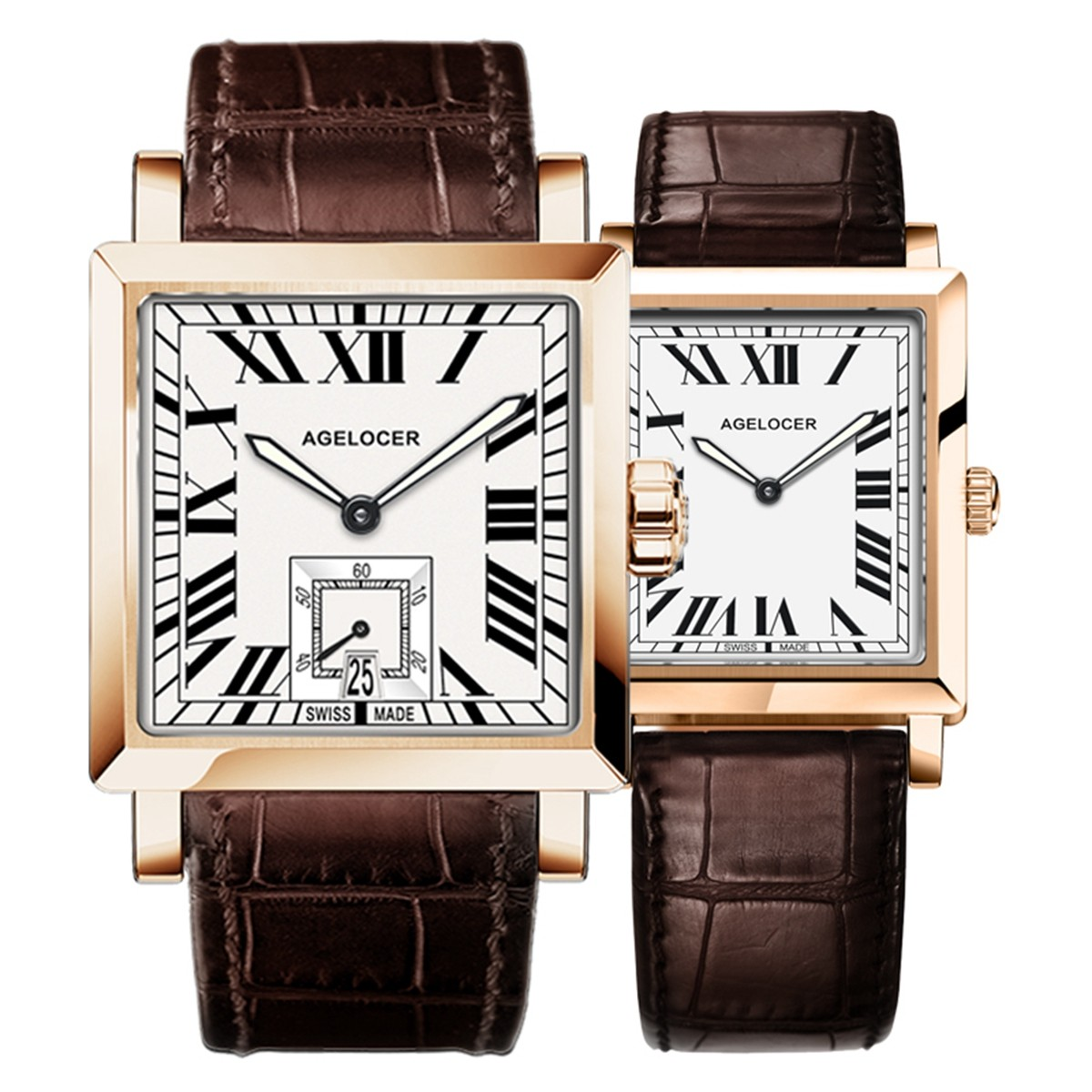 Agelocer Codex Couple Watch 35/30mm Rose Gold 3302A1-3402A1GWWR
