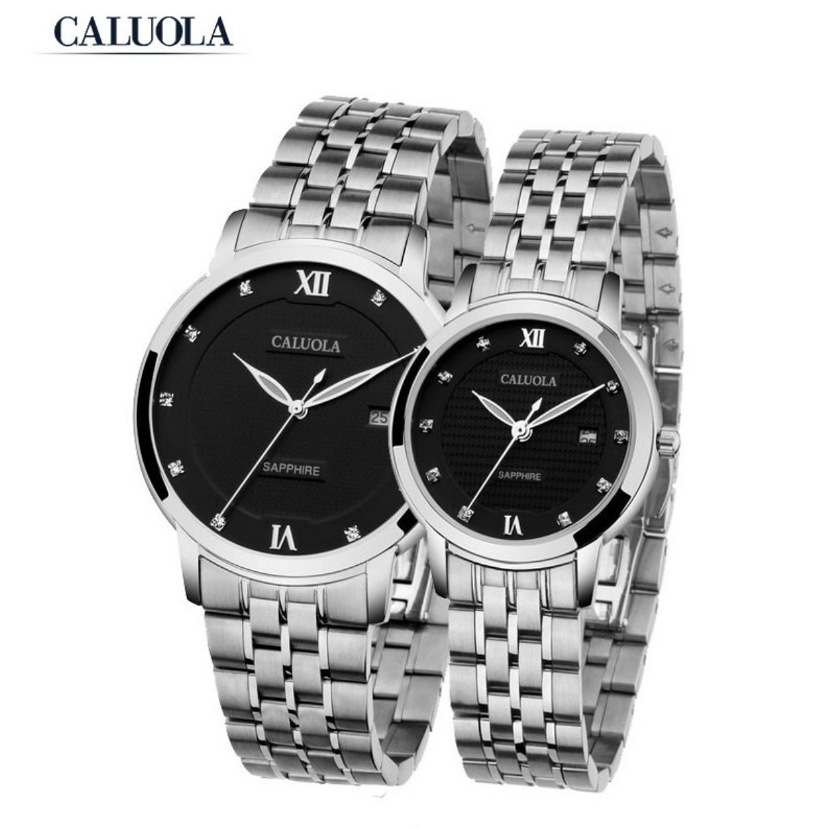 Caluola Auto Couple Watch 39/29mm Steel CA1050