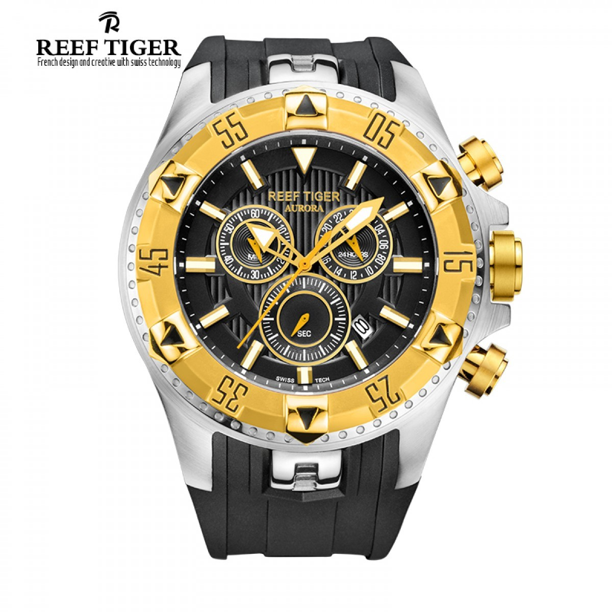 Aurora Hercules 52mm Steel Yellow Gold RGA303-GBB