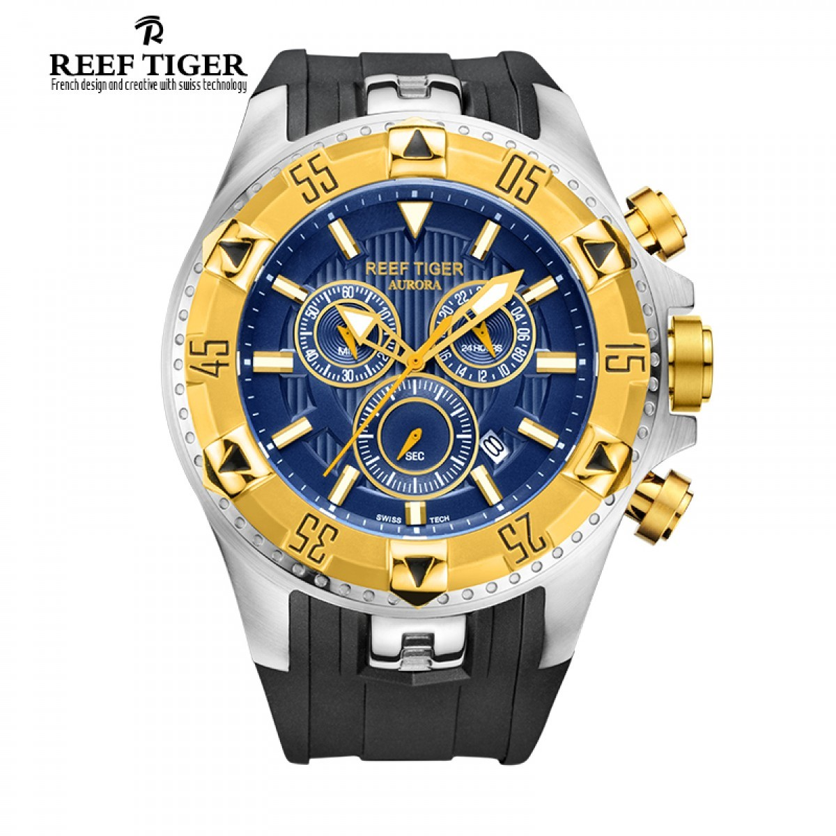Aurora Hercules 52mm Steel Yellow Gold RGA303-GLB