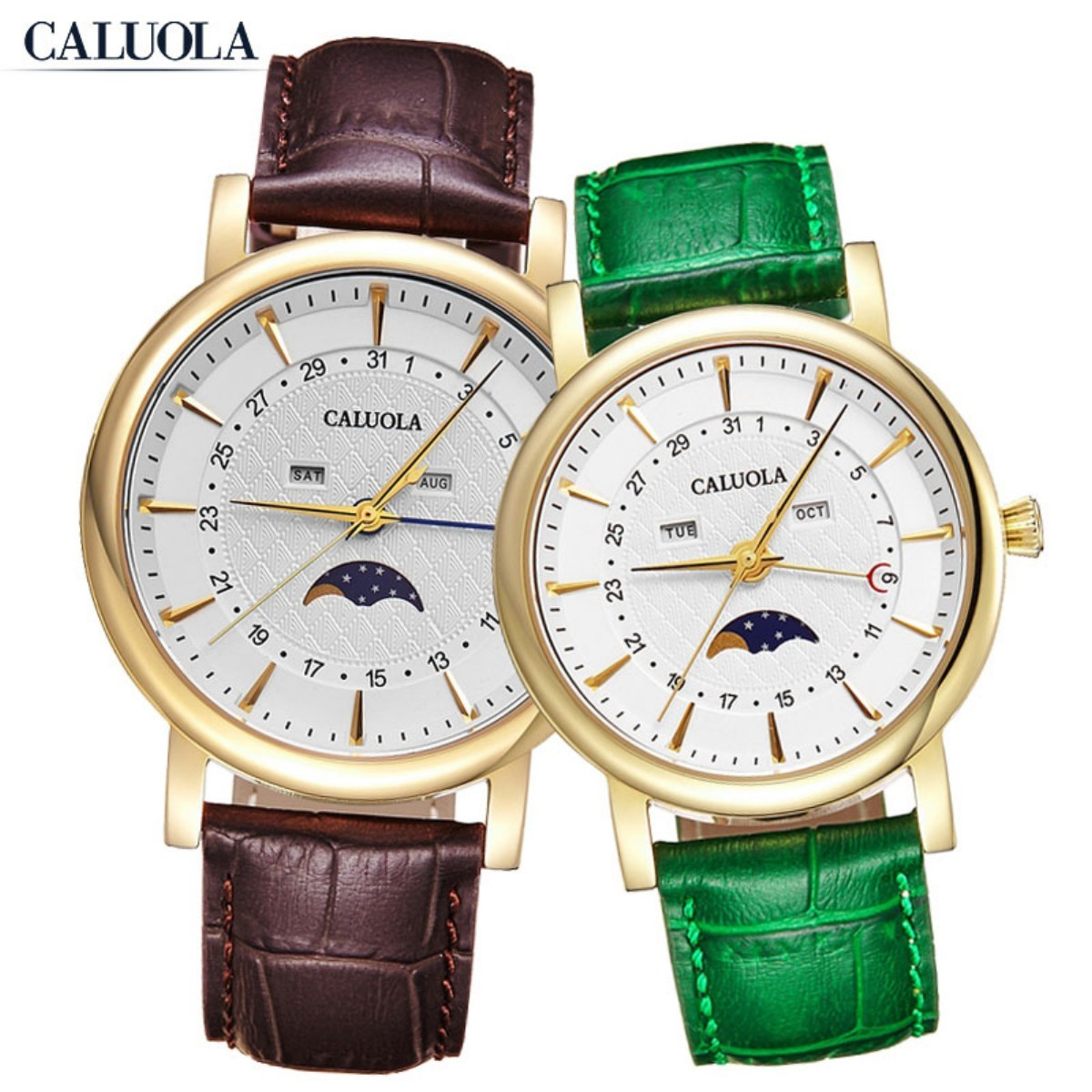 Caluola Couple Watch 41/35mm Yellow Gold CA1174