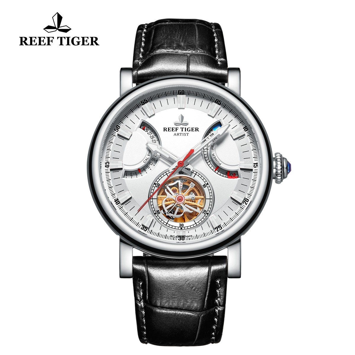 Artist Photographer 44mm Steel White Dial Black Leather Strap RGA1950-YWB