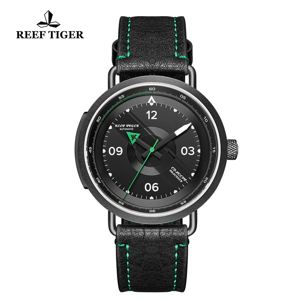 Limited Edition Discover 43mm Green Ponter Black Dial PVD Black Leather Strap RGA9055-BBG