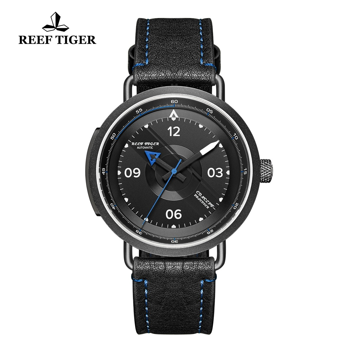 Limited Edition Discover 43mm Blue Pointer Black Dial PVD Black Leather Strap RGA9055-BBL