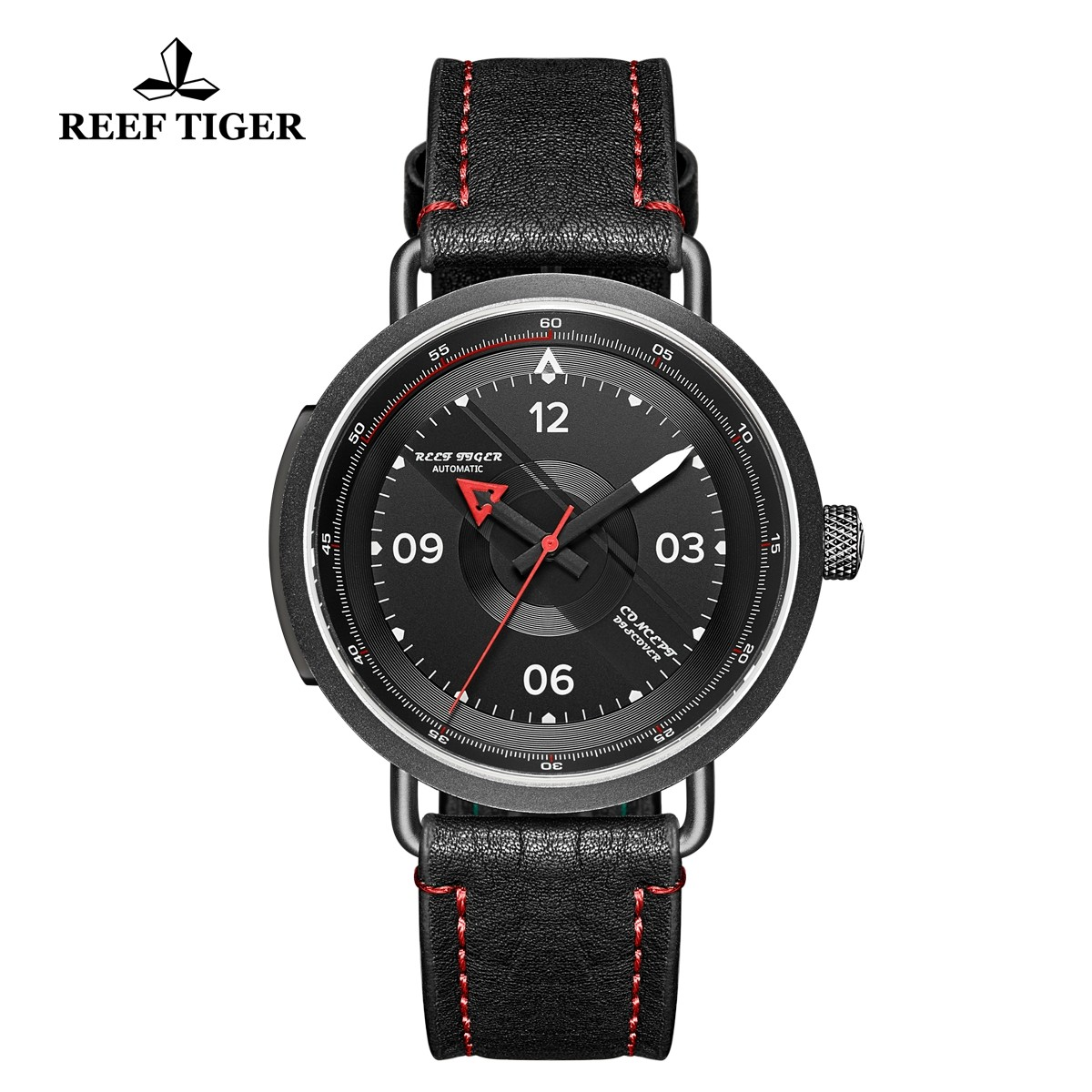 Limited Edition Discover 43mm Red Pointer Black Dial PVD Black Leather Strap RGA9055-BBR