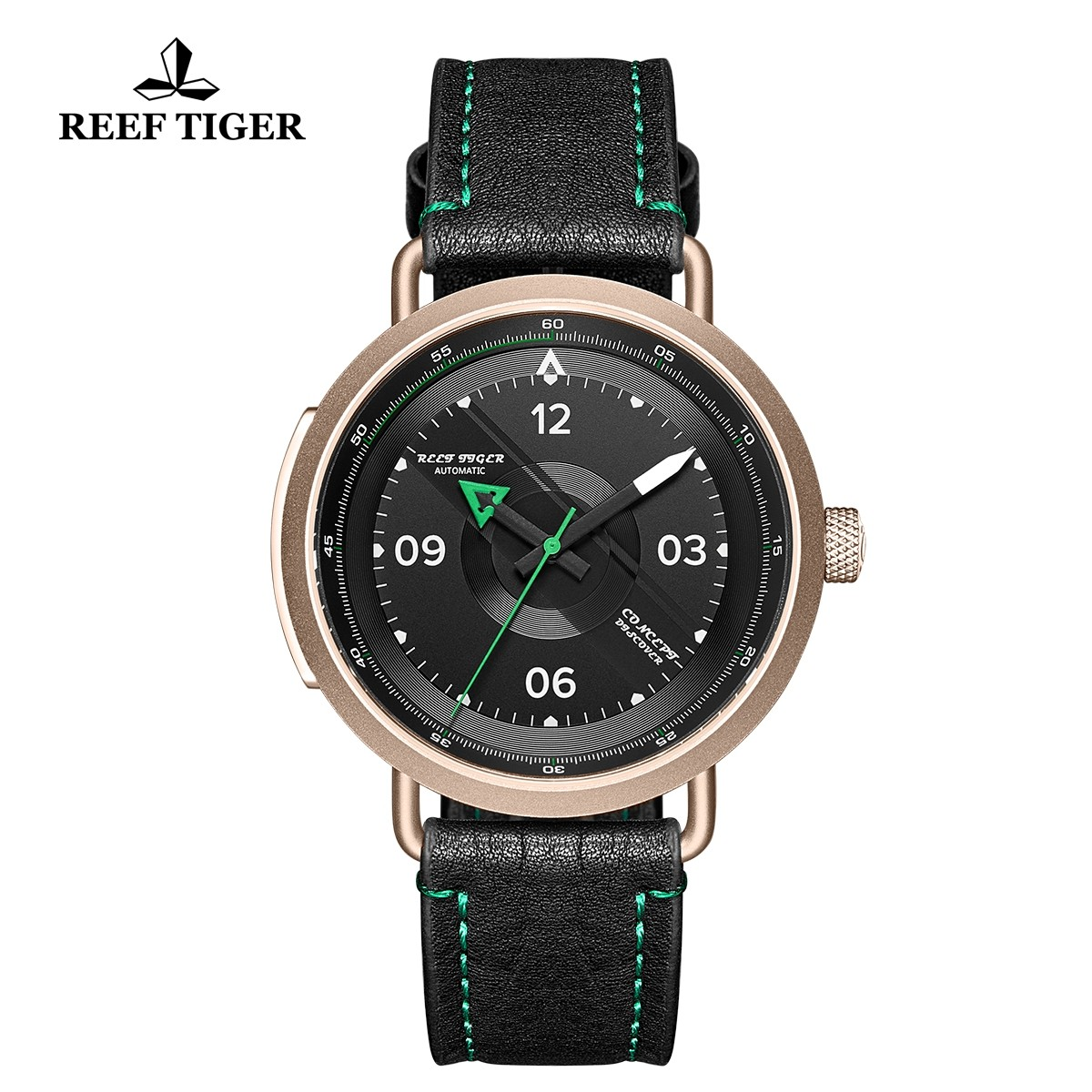 Limited Edition Discover 43mm Green Pointer Black Dial Rose Gold Black Leather Strap RGA9055-PBG