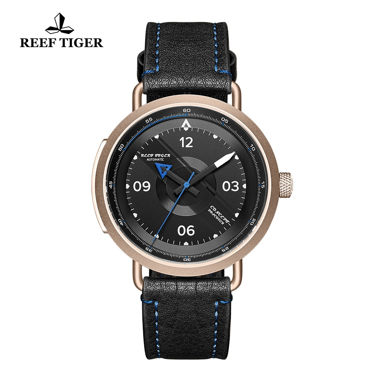Limited Edition Discover 43mm Blue Pointer Black Dial Rose Gold Black Leather Strap RGA9055-PBL