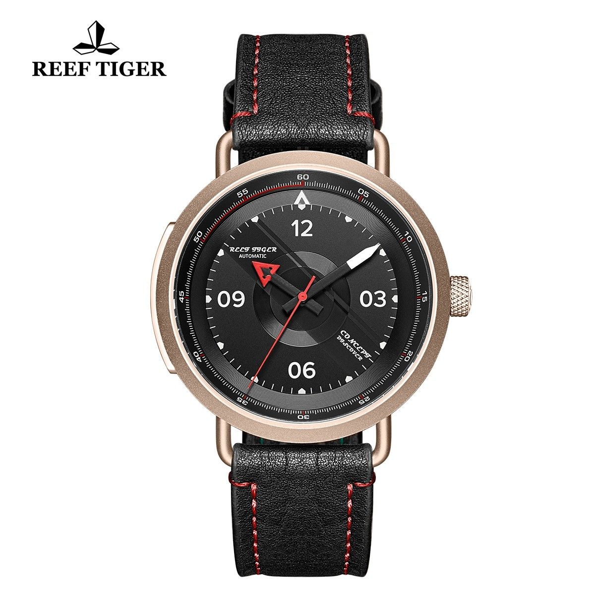 Limited Edition Discover 43mm Red Pointer Black Dial Rose Gold Black Leather Strap RGA9055-PBR