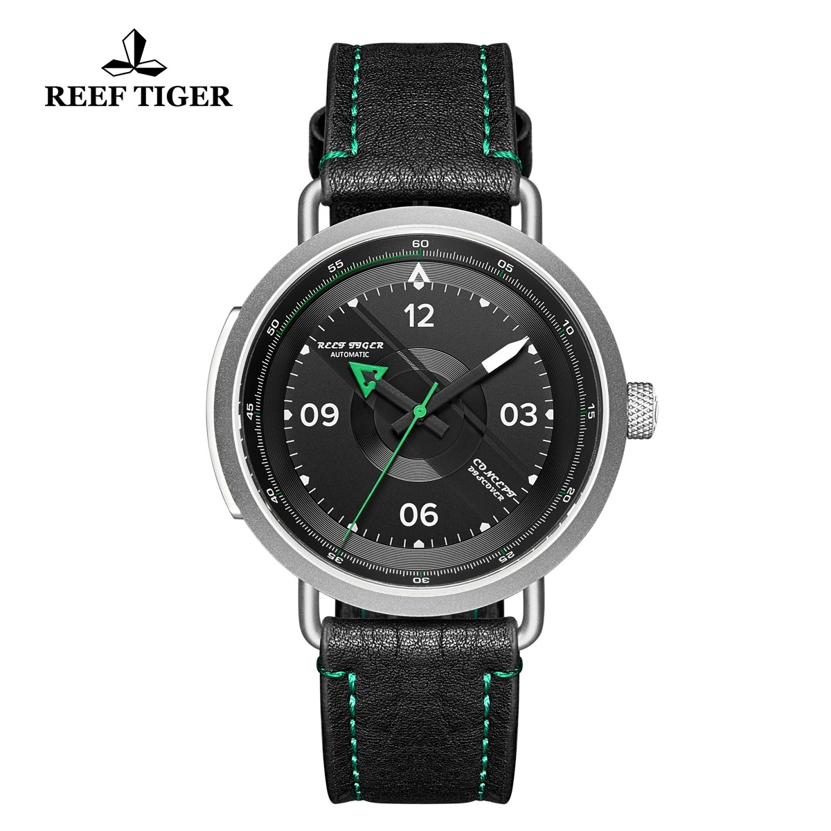 Limited Edition Discover 43mm Green Pointer Black Dial Steel Black Leather Strap RGA9055-YBG