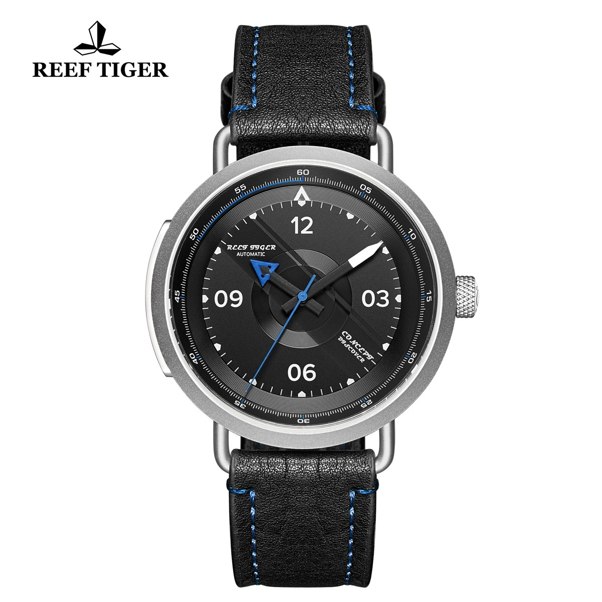 Limited Edition Discover 43mm Blue Pointer Black Dial Steel Black Leather Strap RGA9055-YBL