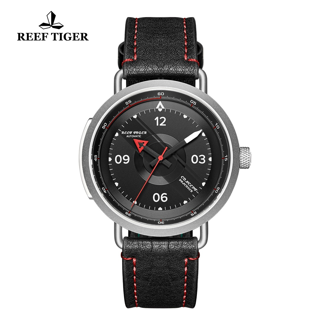 Limited Edition Discover 43mm Red Pointer Black Dial Steel Black Leather Strap RGA9055-YBR